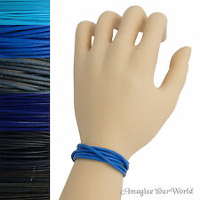 Blue Custom Leather Cord Wrap Bracelet 72 inches (or less) Necklace Anklet +
