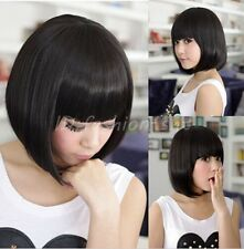 Fashion Womens Ladies Short Straight Wifs Full Bangs BOBO Hair Cosplay Wig/Wigs