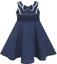 Sunny Fashion Girls Dress Bow Tie Heart Print Sleeveless Blue Size 7-14