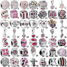 Pink Purple European bead for 925 sterling silver charms bracelet necklace UK-L