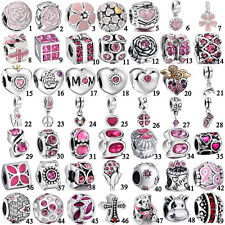 Pink Purple Red 925 sterling silver charms pendant bead For bracelet necklace UK