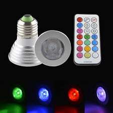 LED Bombillas MR16 GU10 E27 4W Bright RGB Bulb Light Lamp Focos Lámparas & IR