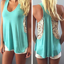Womens Sexy Casual Long Tops Shirt Sleeveless Blouse Loose Tank Lace Vest S-XL