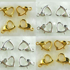 Lots 20Pcs Golden Silver Plated Metal Heart Lobster Clasps Hooks DIY 13*9mm