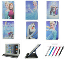 Cartoon Frozen 360 Rotate Flip Stand PU Leather Tablet Cover Case For Apple iPad