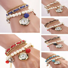 ladies watches Vintage Crystal Dial Anchor Faux Pearl Leather Bracelet Wrist