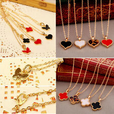 New Fashion Colored Heart/Four-leaf Clover/Butterfly Pendant Gold Chian Necklace
