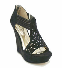 New! Madden Girl Black Suede Like Wedge Sandals Platform PANTUM Women's Shoes