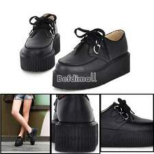 Women Flat Shoes High Platform Creepers Punk Goth Lace UP Platform Flat BE0D