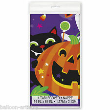 "54""x84"" Happy Halloween Friendly Pumpkin Party Disposable Plastic Table Cover"