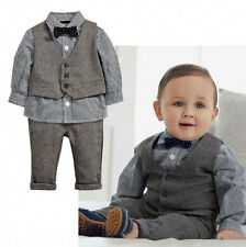 2015 Baby Boys Formal Party Tuxedo Suit Waistcoat Shirt Pants Tie Outfits 0~5T