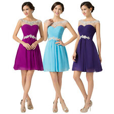 Sexy Short BEADINGS Bridesmaid Wedding Party Prom Formal Evening PLUS SIZE Dress