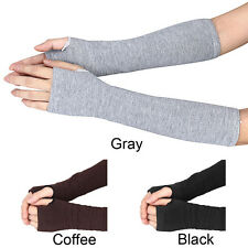 New Women Winter Knitted Wrist Arm Hand Warmer Long Mitten Fingerless Gloves