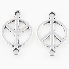 Wholesale 25/50Pcs Charm Round Leaves Tibet Silver Pendant Finding DIY 18*11mm