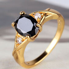 Fit design black sapphire Real yellow gold filled fantastic lady ring Sz5-Sz9
