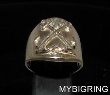 BRONZE MEN'S SAILOR SEAMAN RING WITH TWO CROSSED ANCHORS HIGH POLISHED ANY SIZE