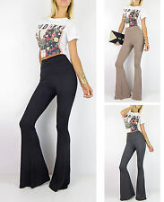 New HIGH WAIST BELL BOTTOM Long Flare Pants  Stretch Black Gray Boho Hippie SML