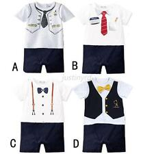 Newborn Baby Boy Short Sleeve Bow Tie Bodysuit Romper Jumpsuit Bodysuit Clothes