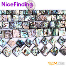 """Square Flat Abalone Shell Natural Stone Beads For Jewelry Making Loose Beads 15"""""""