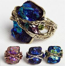 Crystal Rhinestone Natural Stone Stretchy Elastic Adjustable Finger Ring Jewelry