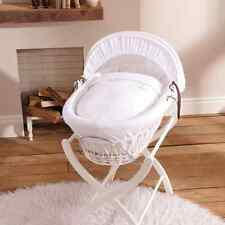 Brand new Izziwotnot White Wicker Moses Basket in White Gift with White Stand
