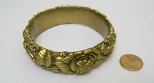 Vintage Gold Color Celluloid Floral Bangle Bracelet