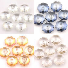 Lots 20/40Pcs Faceted Crystal Flower Shape Loose Spacer Beads 10*4mm Findings