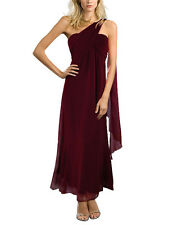 Bridesmaid Wedding Party One Shoulder Drape ChiffonFloaty Empire Evening Dress