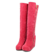 New Platform Womens Shoes Faux Suede Wedge High Heel Zip Up Knee Boots UK Sizes