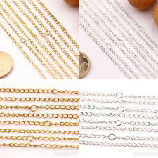 10/50Pcs Gold/Silver/Plated Twisted Clasps Ring Chains Jewelry Making 19.7inch