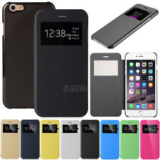 Flip Leather Wallet View Window Folio Case Cover for iPhone 5 5S SE 5C 6 6S Plus