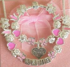 GIRLS/CHILDRENS PERSONALISED CHARM ANY NAME  BRACELET/NECKLACE SET GIFT BOXED