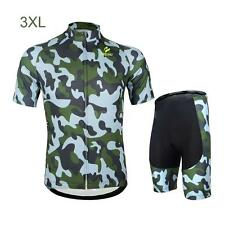 ARSUXEO Breathable Cycling Short Sleeve Jersey Pants Sportswear Suit Set NEW