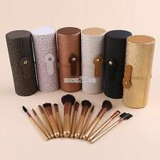 12pcs Pro Makeup Brushes Leather Cup Holder Case Cosmetic Brush Set Kit S0BZ