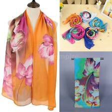 Womens Amazing Long Chiffon Stole Scrawl Flower Printed Retro Wrap Soft Scarf