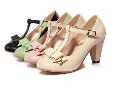 Cute Womens Girls Lolita Bow mary Janes Pumps T Strap Shoes High Heels Plus Size
