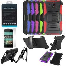 Phone Case For HTC Desire 520 Tempered Glass Screen Holster Rugged Cover