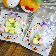 2015 New Pumpkin Halloween Cello Cellophane Party Favour Sweet Biscuit Gift Bags
