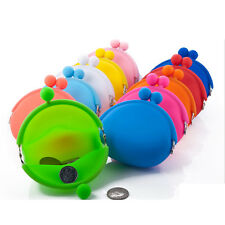 Silicone Round Coin Purses Wallet Card Rubber Key Phone Frog Design Bag Case