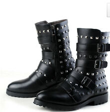 Fashion Mens Ankle Boots Motorcycle Punk Gothic Rivet Rock Buckle Black Shoes Sz