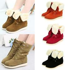 Women Boots Cuffed Lace Up Faux Suede Fur Lined Snow Winter Mid Calf Shoes SV5V