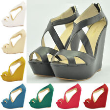 Womens Platform High Heels Sexy Open Peep Toe Wedge Shoes Sandals US Size 4-11