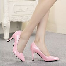 Solid Leather Pointed-toe Wet Look Pumps Women Mid Kitten Heel Formal Lady Shoes