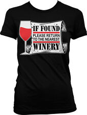 If Found Please Return To The Nearest Winery Funny Vino Humor Juniors T-shirt