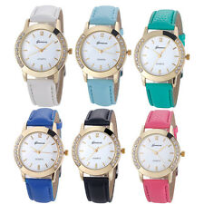 Geneva Fashion Dress Watch Women Watch Diamond Analog Leather Quartz Wrist Watch