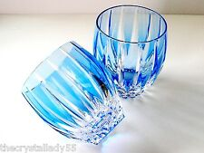 2 AJKA LAUSANNE azure blue cased cut to clear crystal whiskey scotch dof rocks