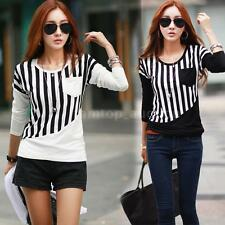 New Womens Striped Pocket Long Sleeve Casual Blouse Tops Tees Shirt T-Shirt 75EM