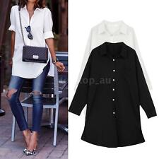 Womens Loose Button Front Pocket Long Sleeve Shirt Casual Blouse Long Top 79J7