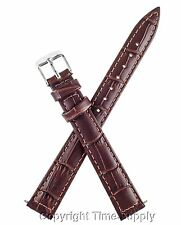 BROWN LEATHER WATCH BAND CROCO EXTRA LONG XXL
