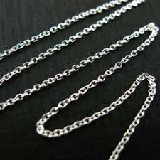 STERLING SILVER CHAIN- Bulk Unfinished -1mm Tiny Plain Cable Oval (sold by foot)